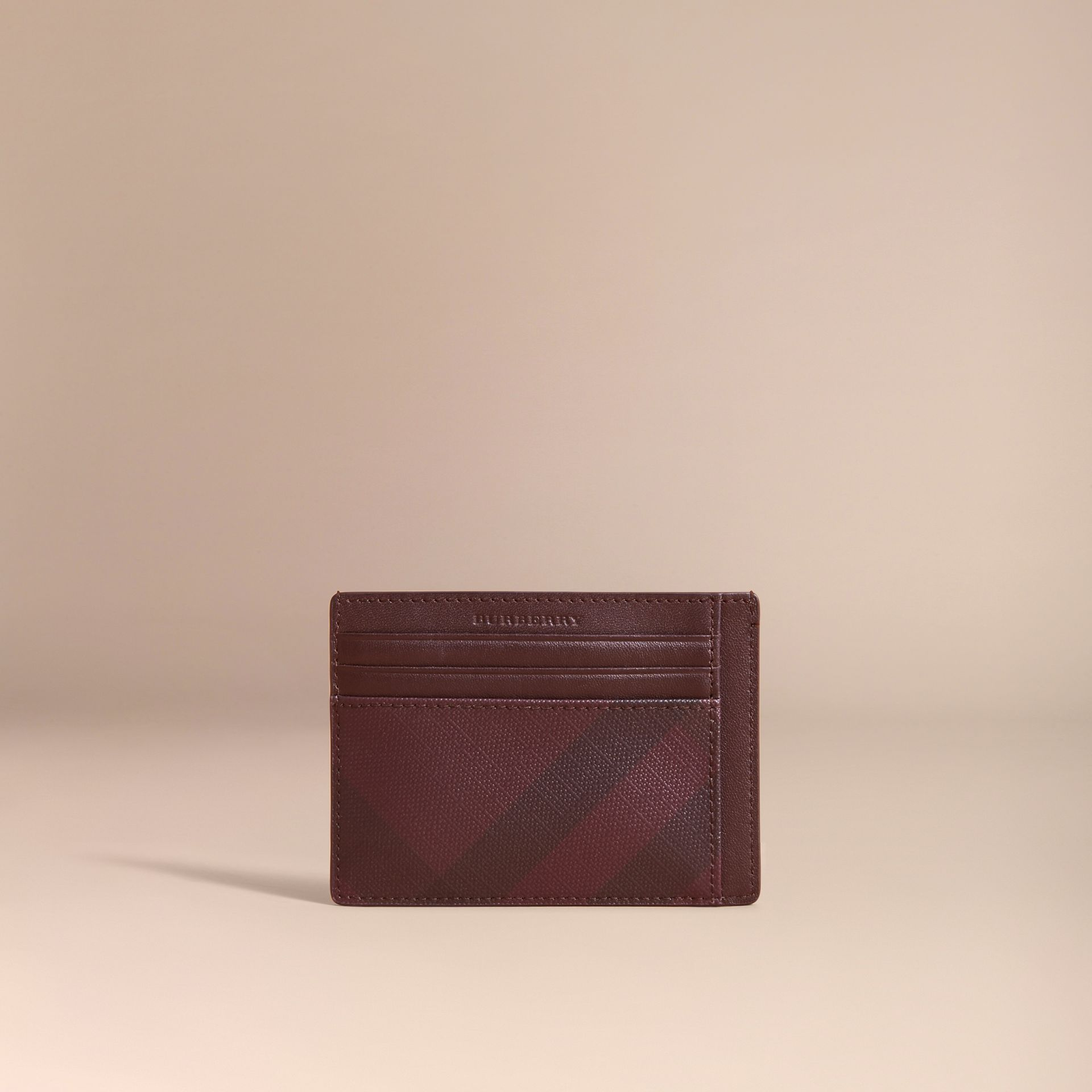London Check Card Case in Deep Claret - Men | Burberry - gallery image 4
