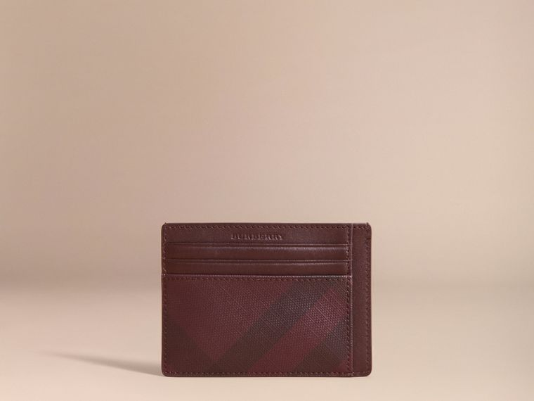 London Check Card Case in Deep Claret - Men | Burberry - cell image 4