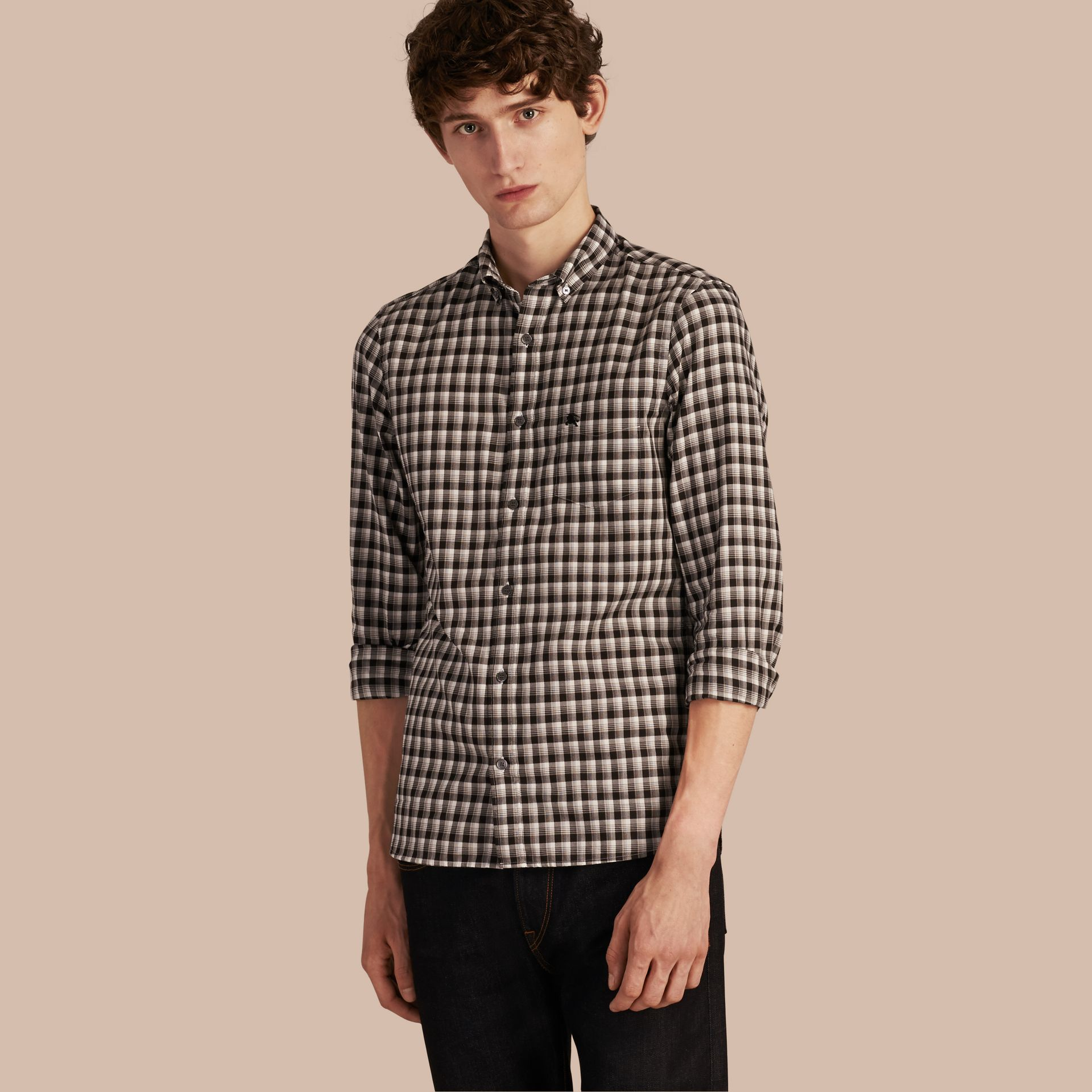 Black Gingham Check Cotton Twill Shirt Black - gallery image 1