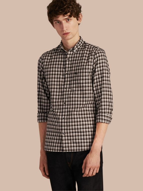 Gingham Check Cotton Twill Shirt Black