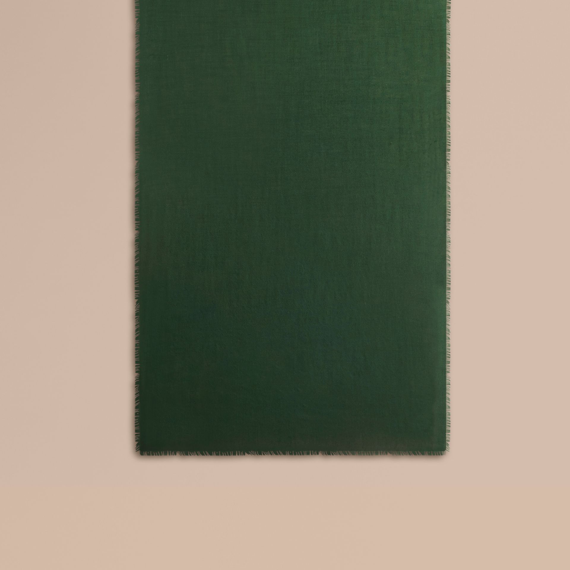 The Lightweight Cashmere Scarf in Dark Forest Green - gallery image 2