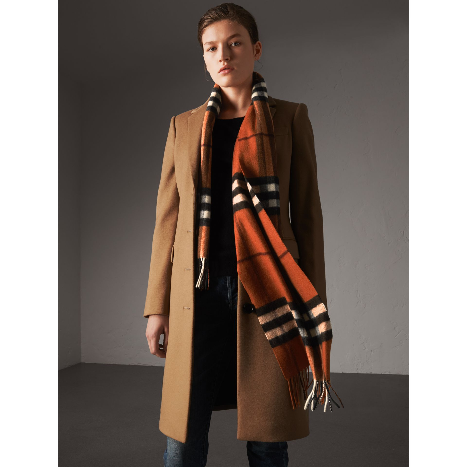 The Classic Cashmere Scarf in Check in Burnt Orange | Burberry Australia - gallery image 3