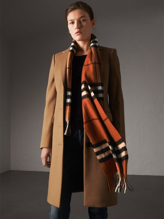 The Classic Cashmere Scarf in Check in Burnt Orange | Burberry Australia - cell image 2