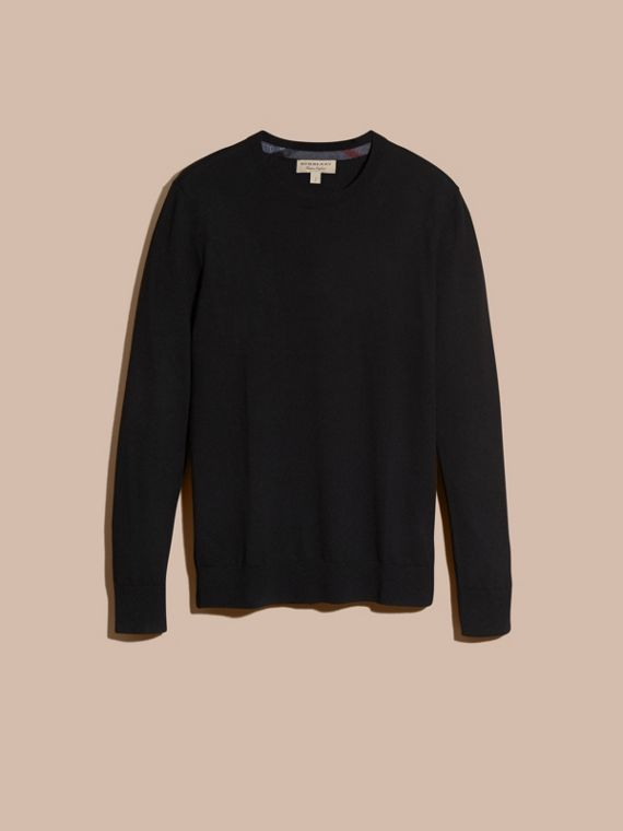 Lightweight Crew Neck Cashmere Sweater with Check Trim in Black - cell image 3