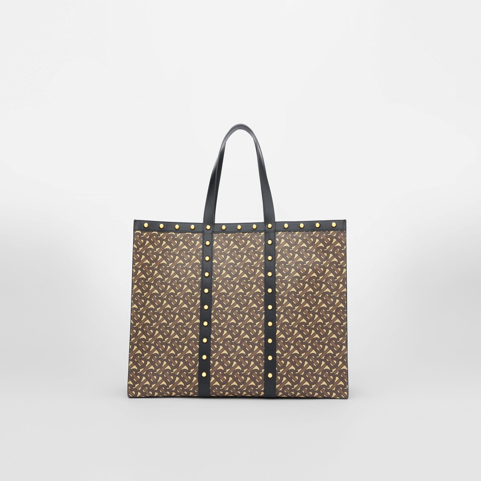 Monogram Print E-canvas Tote Bag in Black | Burberry - gallery image 9