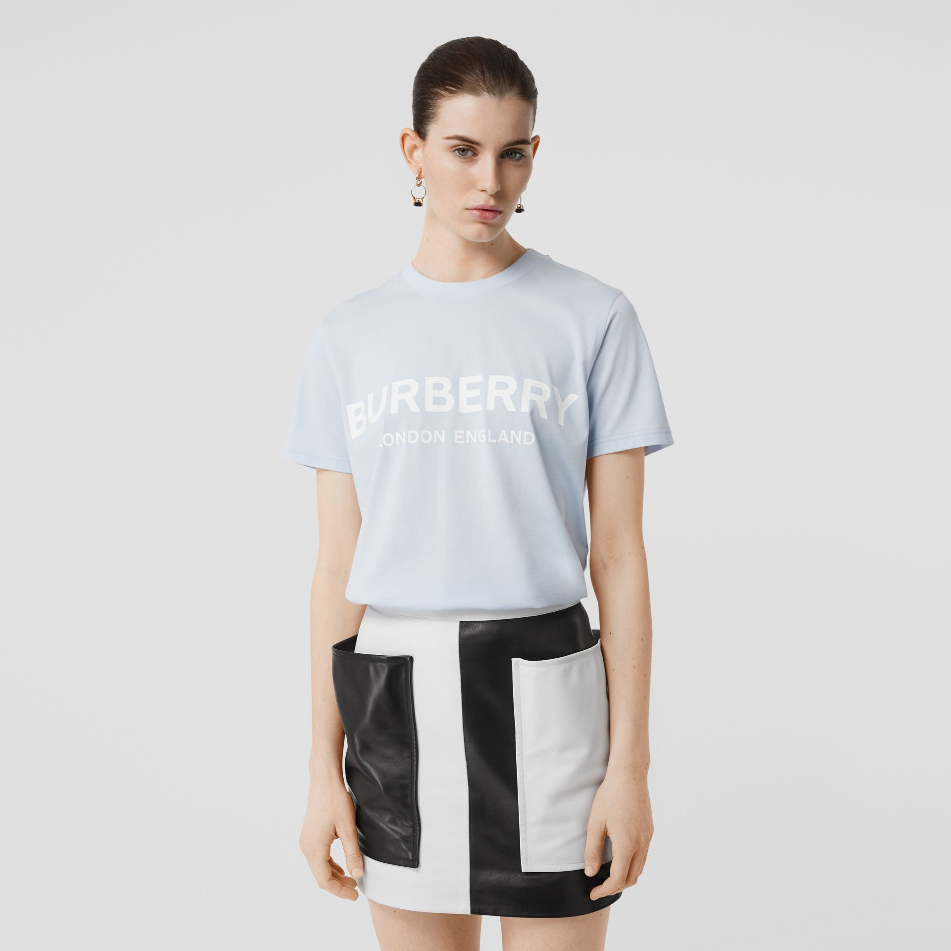 Logo Print Cotton T-shirt in Pale Blue - Women | Burberry - gallery image 2