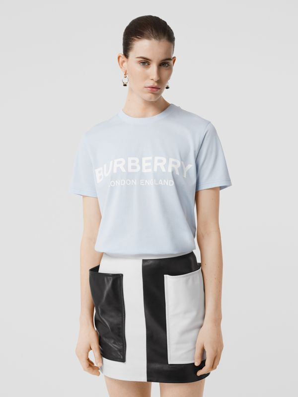 Logo Print Cotton T-shirt in Pale Blue - Women | Burberry - cell image 2