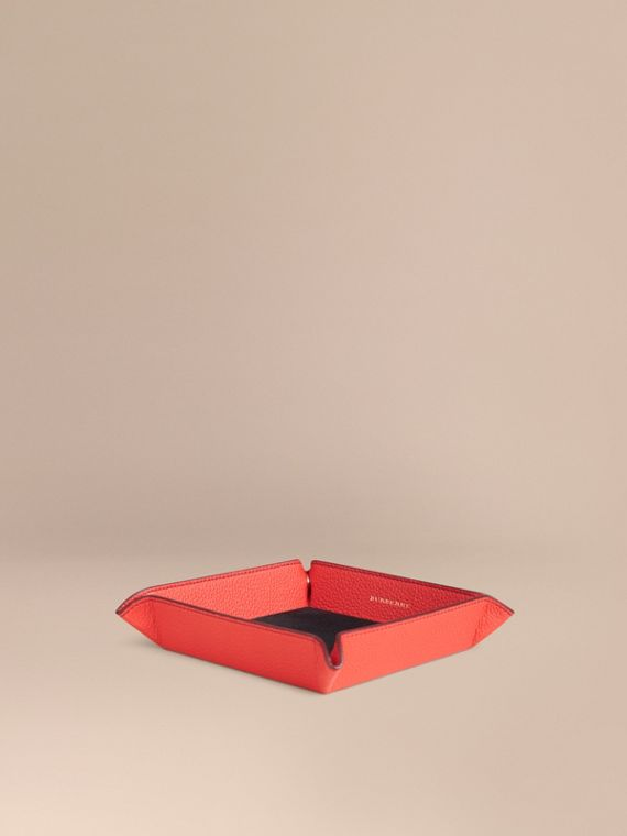 Grainy Leather Valet Tray Orange Red