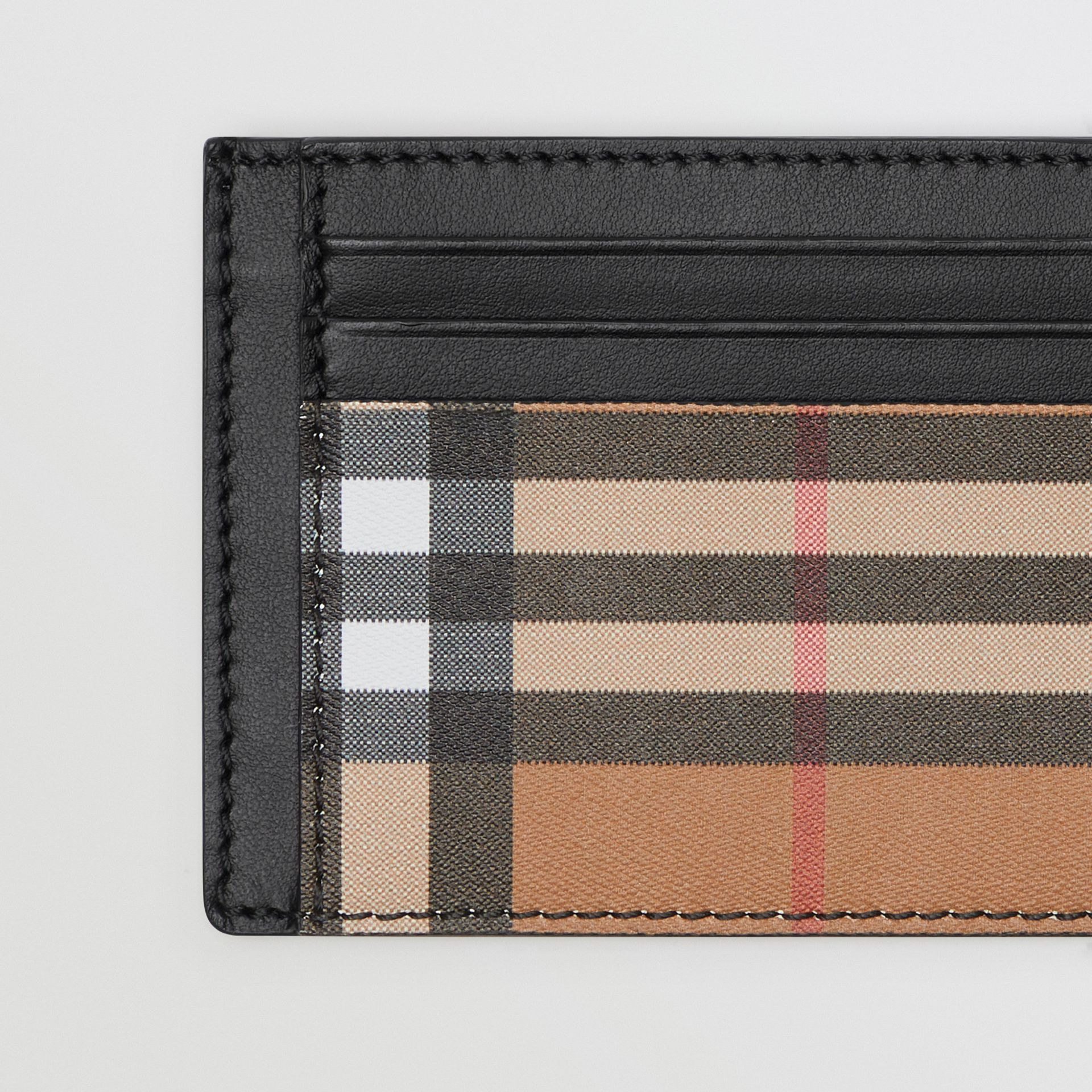 Vintage Check Leather Card Case in Black - Men | Burberry - gallery image 1