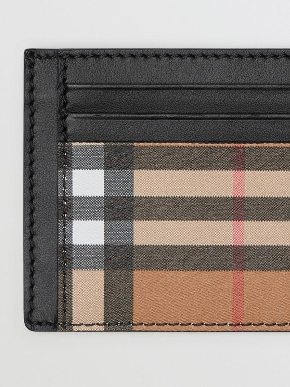Vintage Check Leather Card Case in Black - Men | Burberry - cell image 1