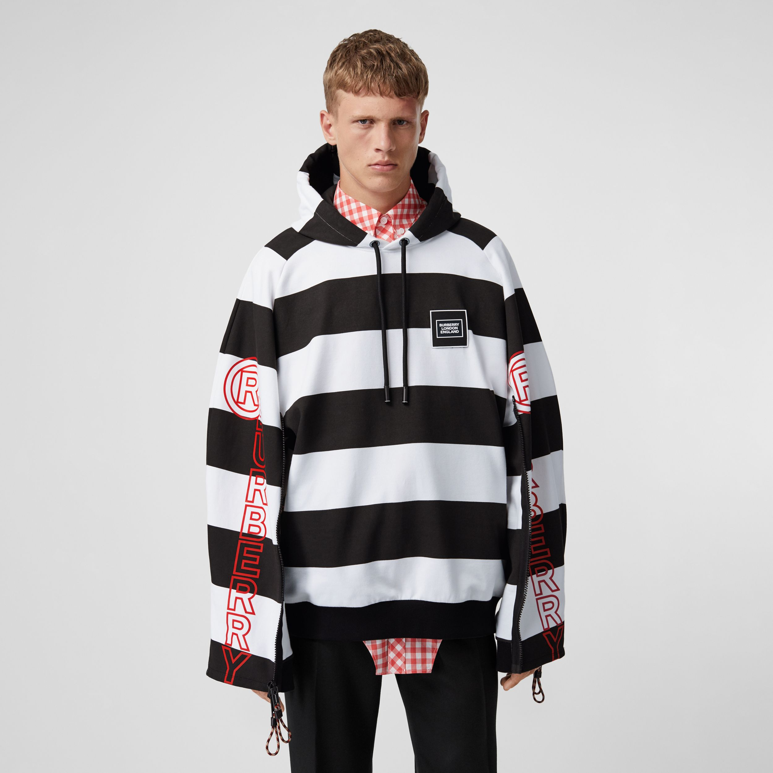 Zip Detail Logo Print Striped Cotton Hoodie in Black/white - Men | Burberry - 1