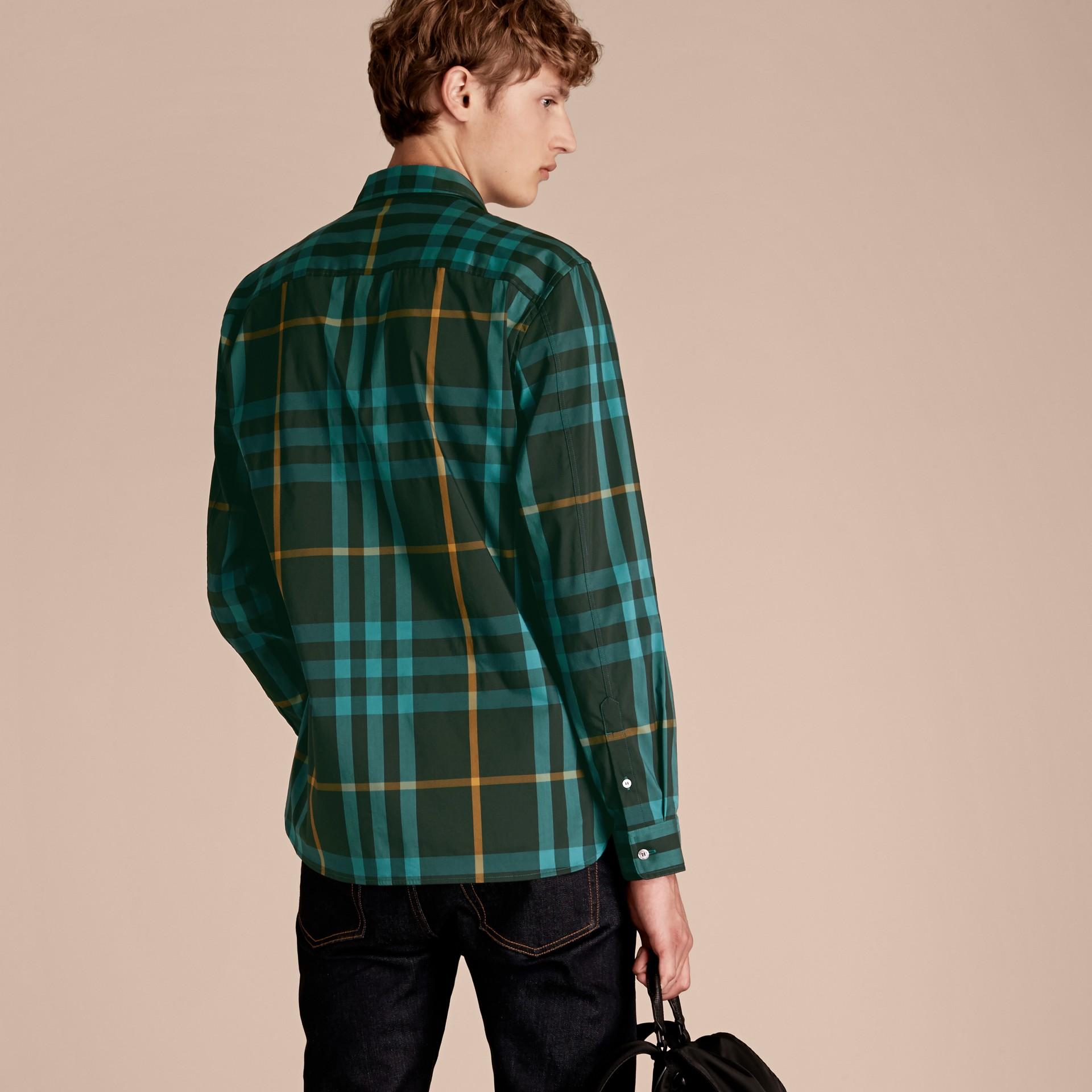Camicia in cotone stretch con motivo tartan Turchese Scuro - immagine della galleria 3