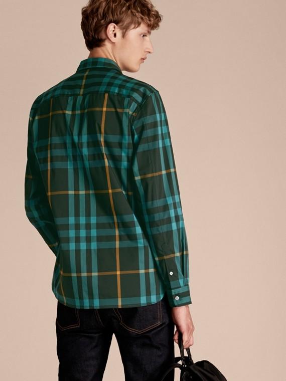 Camicia in cotone stretch con motivo tartan Turchese Scuro - cell image 2