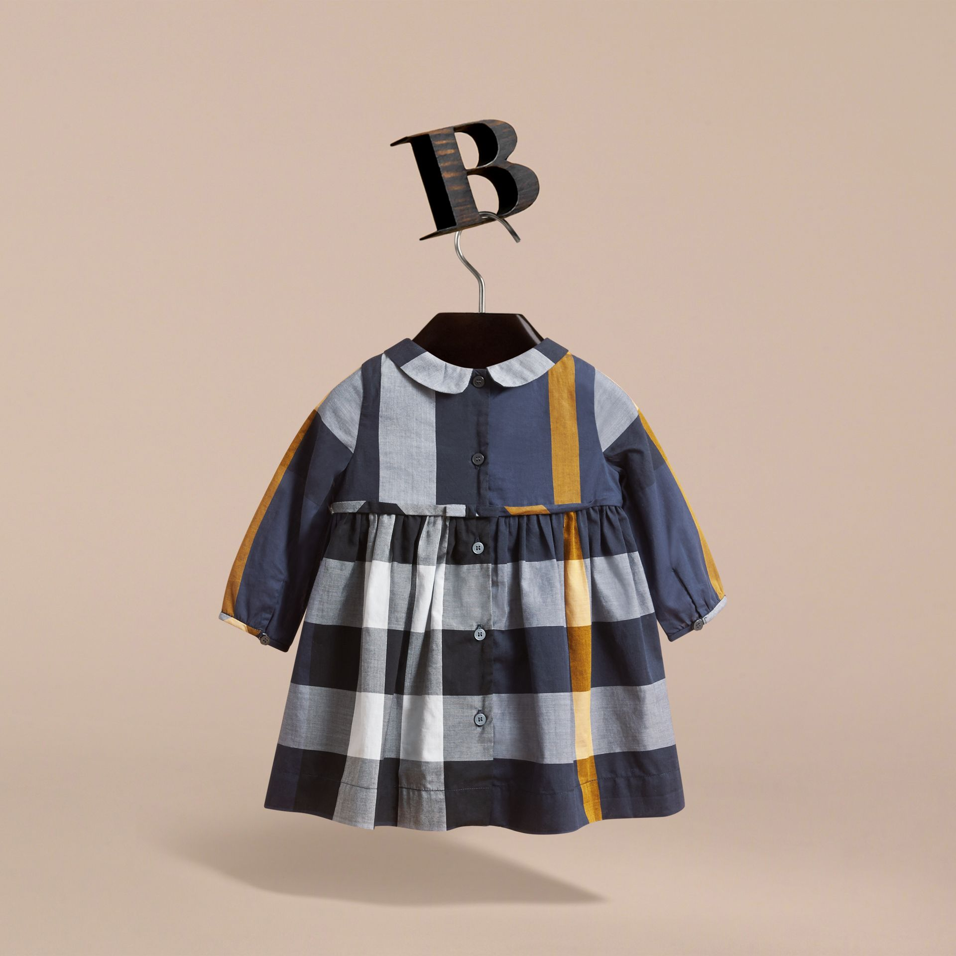 Long-sleeve Check Pintuck Bib Cotton Dress in Pale Navy | Burberry Australia - gallery image 4