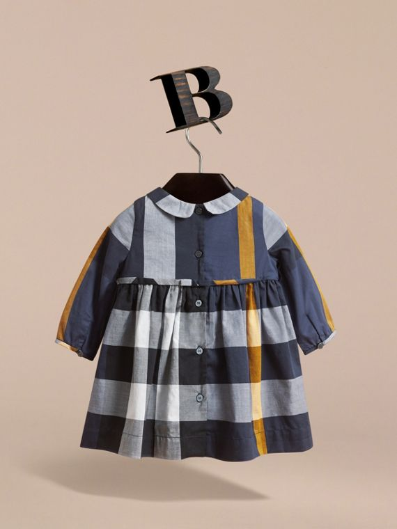 Long-sleeve Check Pintuck Bib Cotton Dress in Pale Navy | Burberry - cell image 3