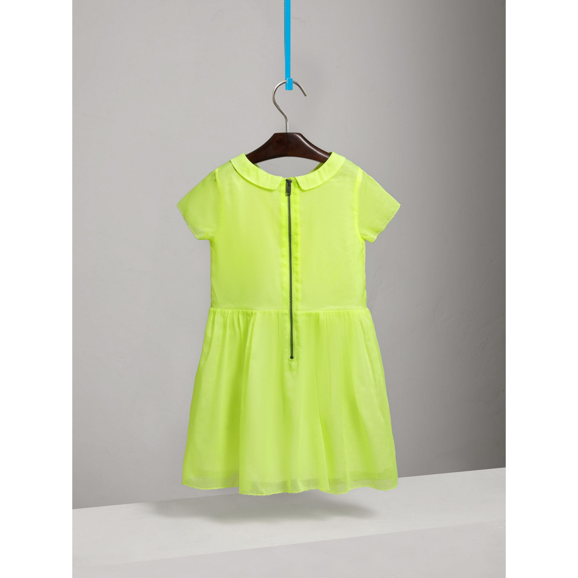 Pintuck Detail Cotton Voile Dress in Neon Yellow - Girl | Burberry - gallery image 3