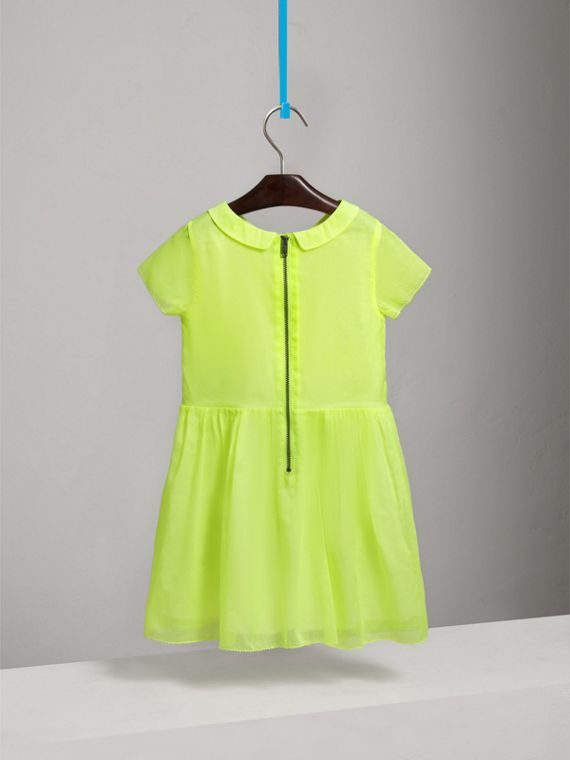Pintuck Detail Cotton Voile Dress in Neon Yellow - Girl | Burberry - cell image 3