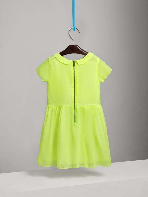 Vestitino in voile di cotone con plissettatura (Giallo Neon) | Burberry - cell image 3