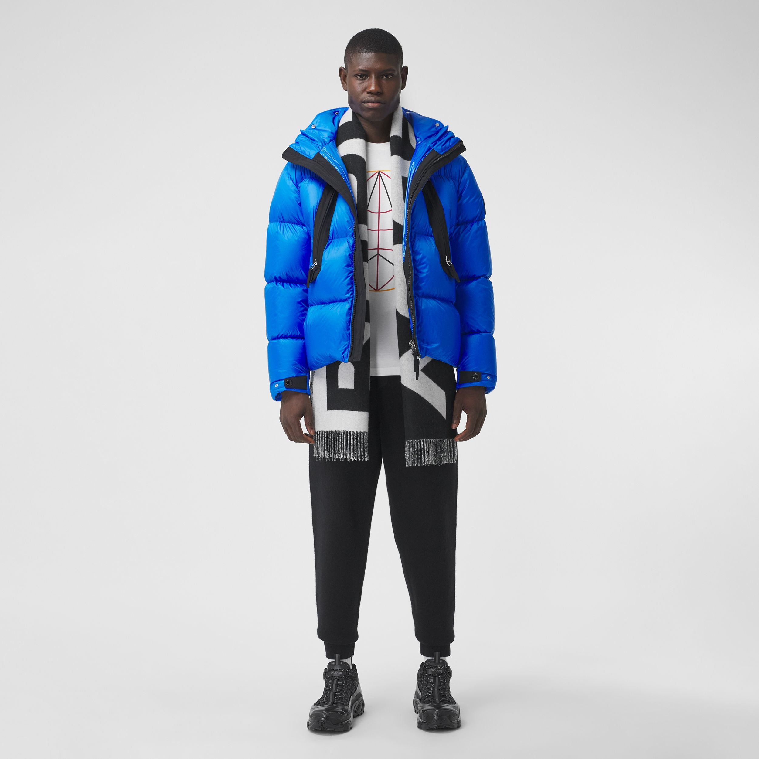 Packaway Hood Zip Detail Puffer Jacket in Canvas Blue - Men | Burberry - 1