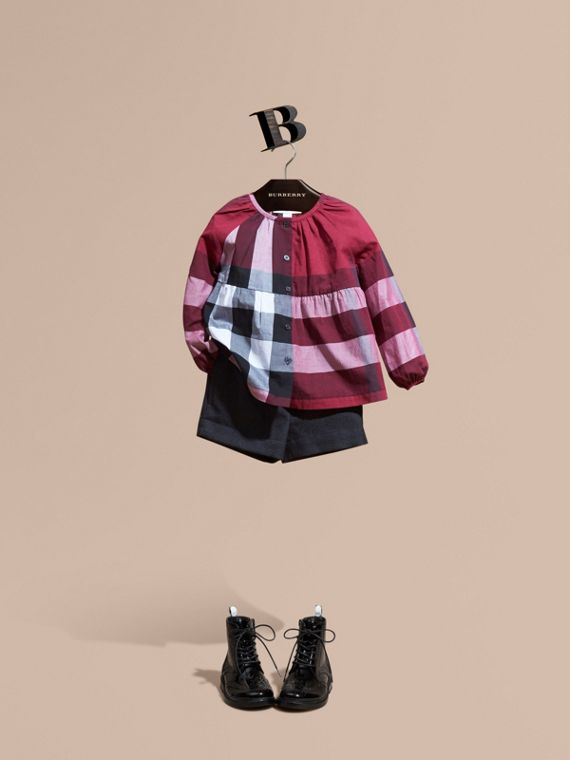 Puff Sleeve Check Cotton Blouse Dark Plum Pink