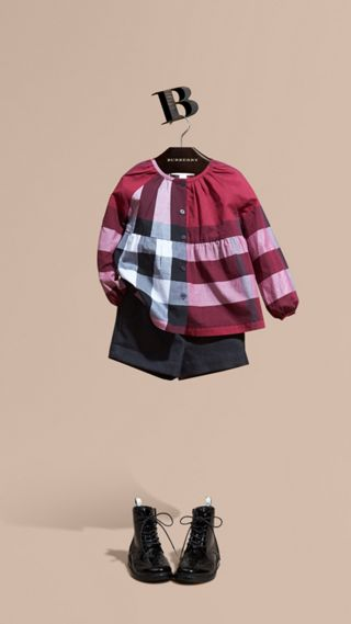 Puff Sleeve Check Cotton Blouse