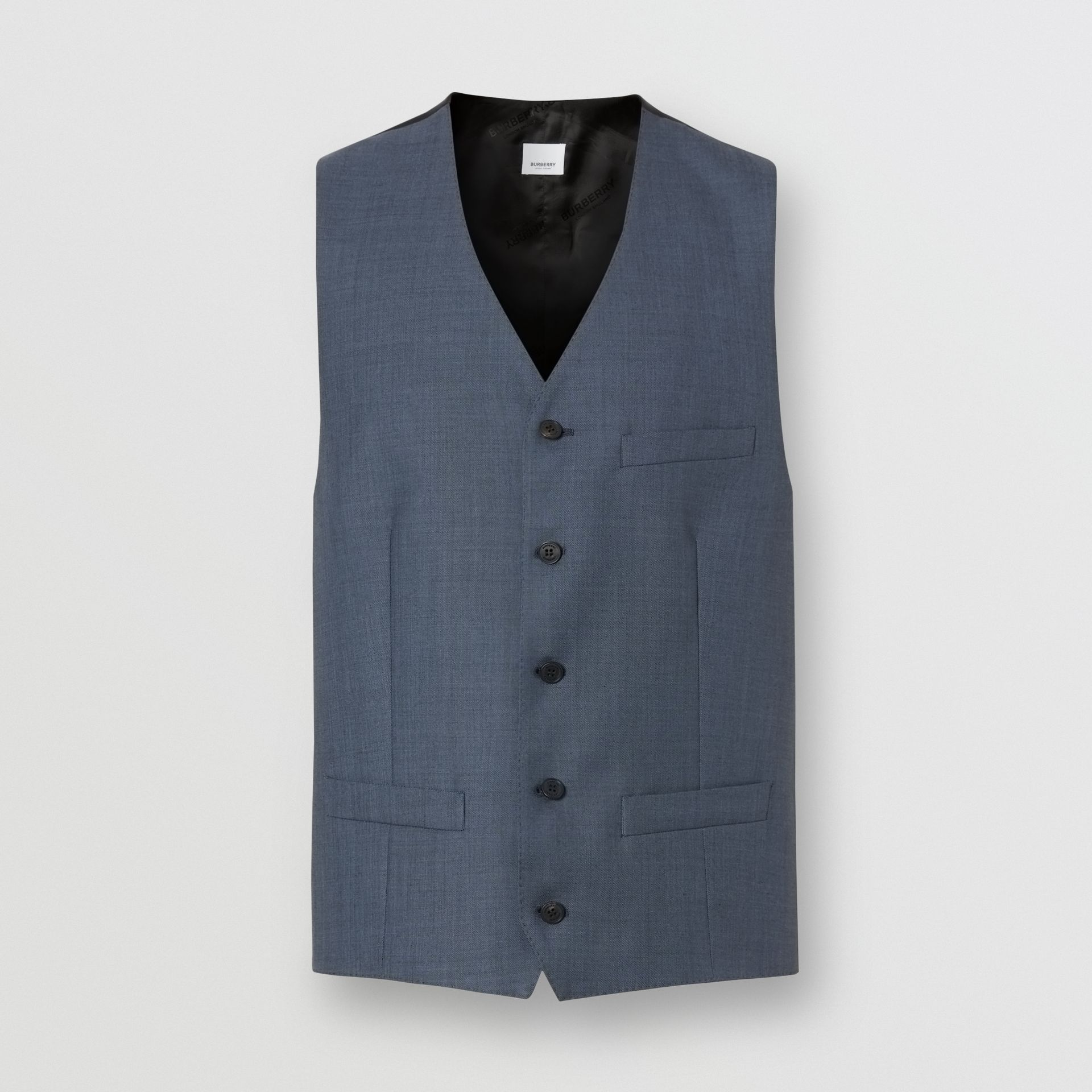 Classic Fit Wool Mohair Blend Three-piece Suit in Steel Blue - Men   Burberry United States - gallery image 8