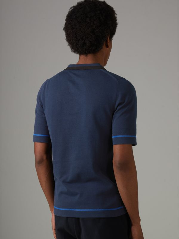 Tipped Cotton Jersey Polo Shirt in Navy Blue - Men | Burberry - cell image 2