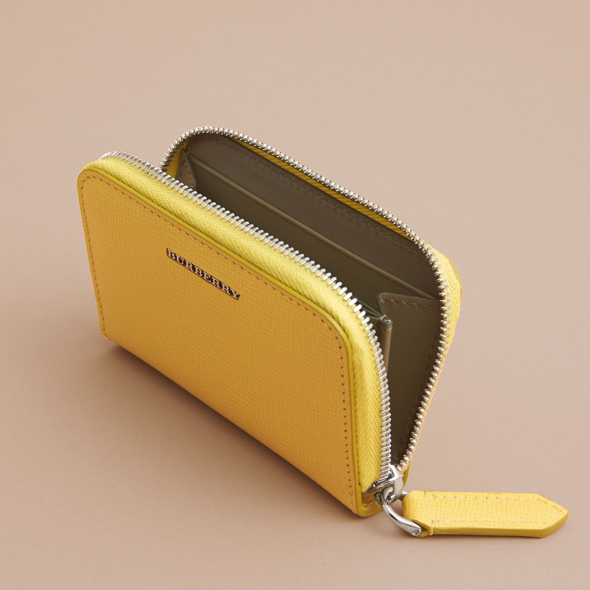 London Leather Ziparound Coin Case in Bright Citrus | Burberry Canada - gallery image 5