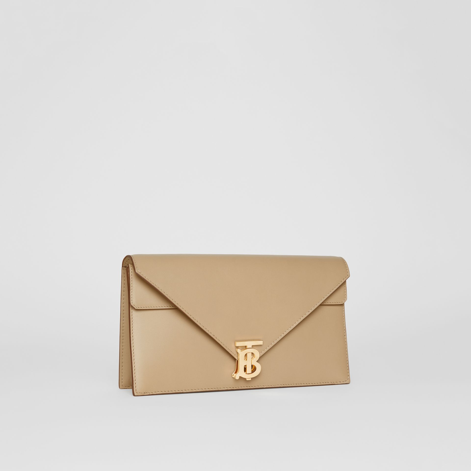 Small Leather TB Envelope Clutch in Honey - Women | Burberry - gallery image 7