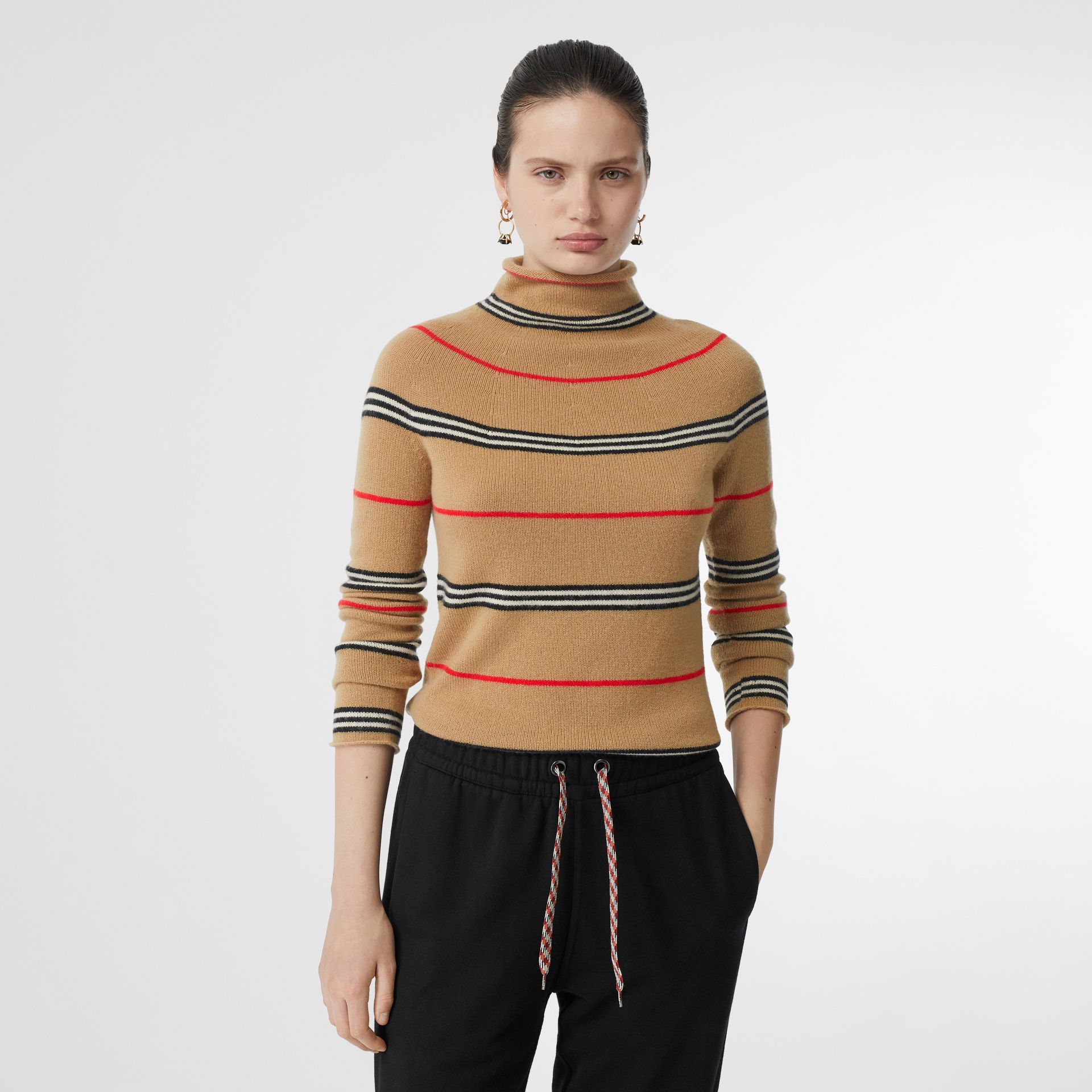 Icon Stripe Cashmere Turtleneck Sweater in Archive Beige - Women | Burberry - gallery image 4