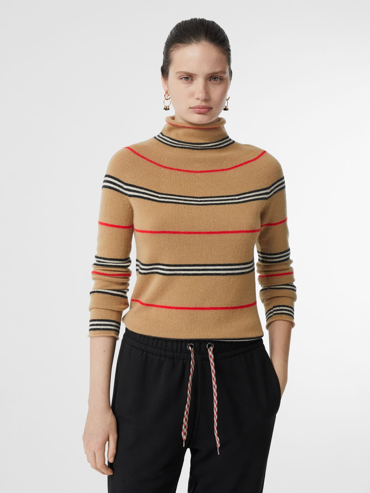 Icon Stripe Cashmere Turtleneck Sweater in Archive Beige