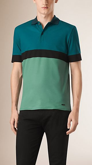 Colour Block Cotton Polo Shirt