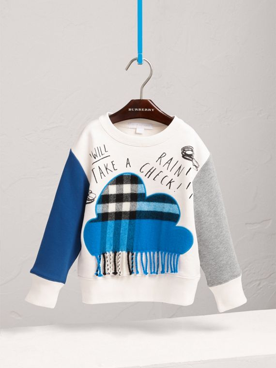 Weather Motif Cotton Sweatshirt in Bright Cornflower Blue - Girl | Burberry - cell image 2
