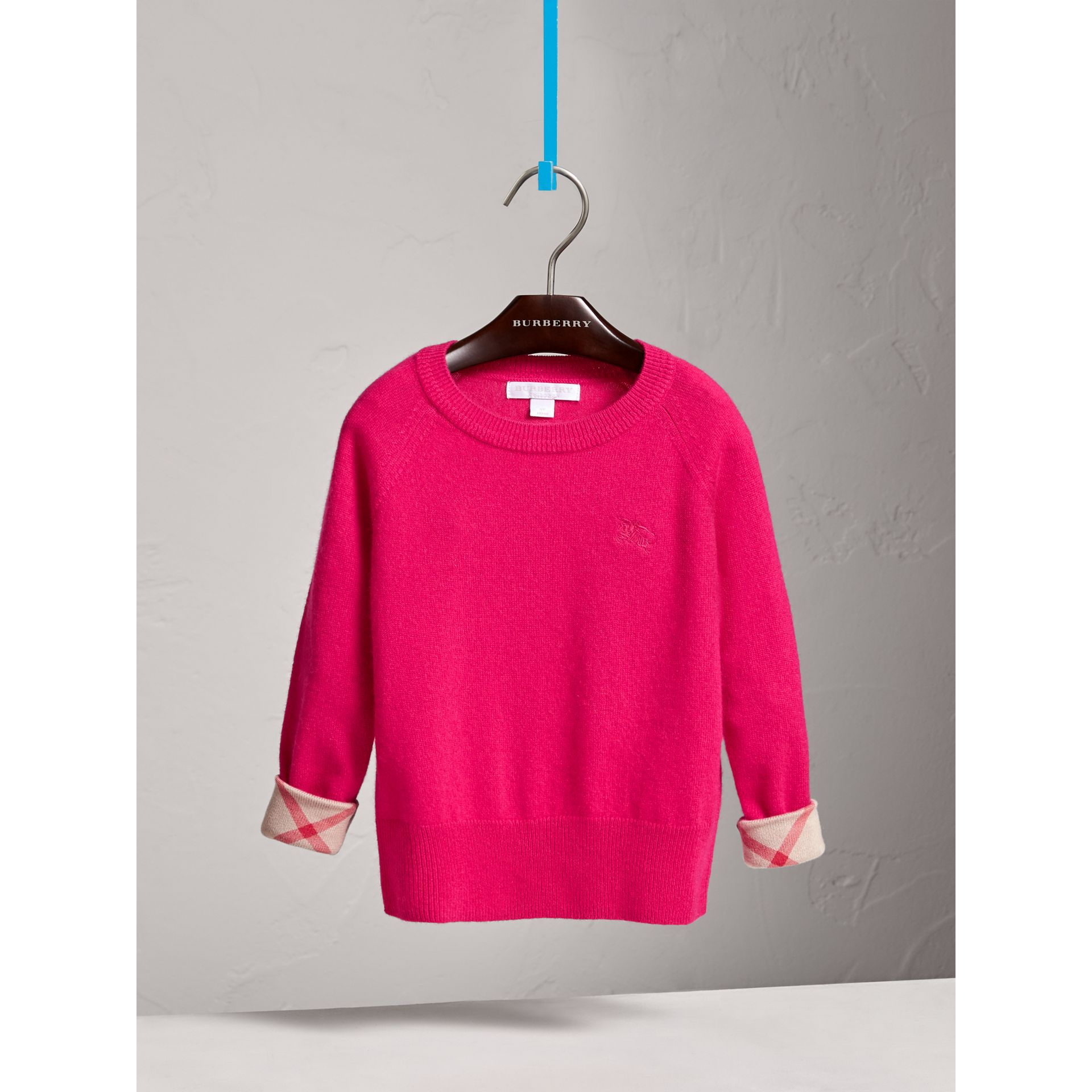 Check Cuff Cashmere Sweater in Bright Crimson Pink - Girl | Burberry - gallery image 2