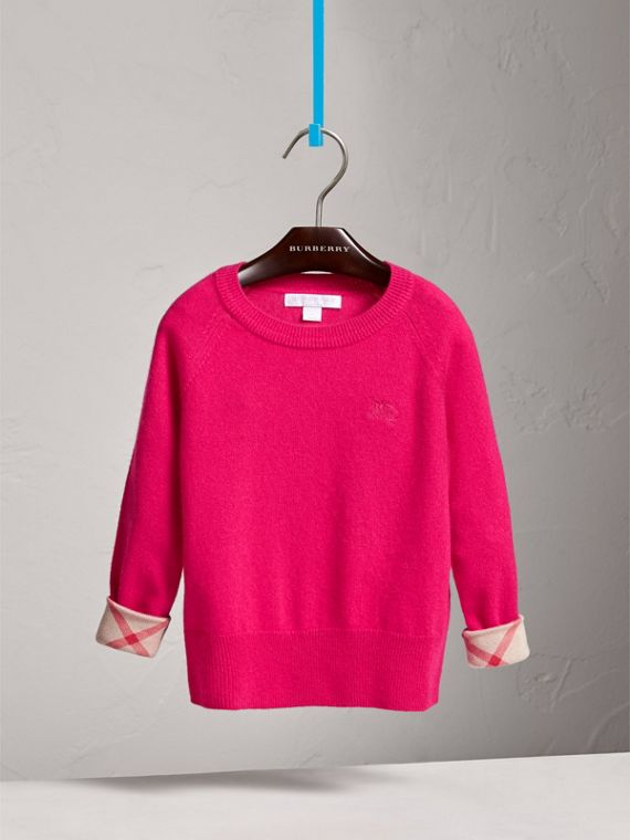 Check Cuff Cashmere Sweater in Bright Crimson Pink - Girl | Burberry - cell image 2
