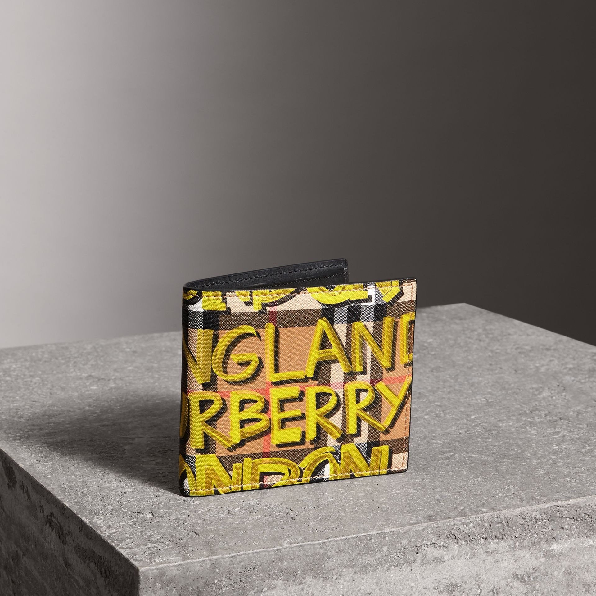 Graffiti Print Vintage Check International Bifold Wallet in Bright Yellow/antique Yellow - Men | Burberry - gallery image 0
