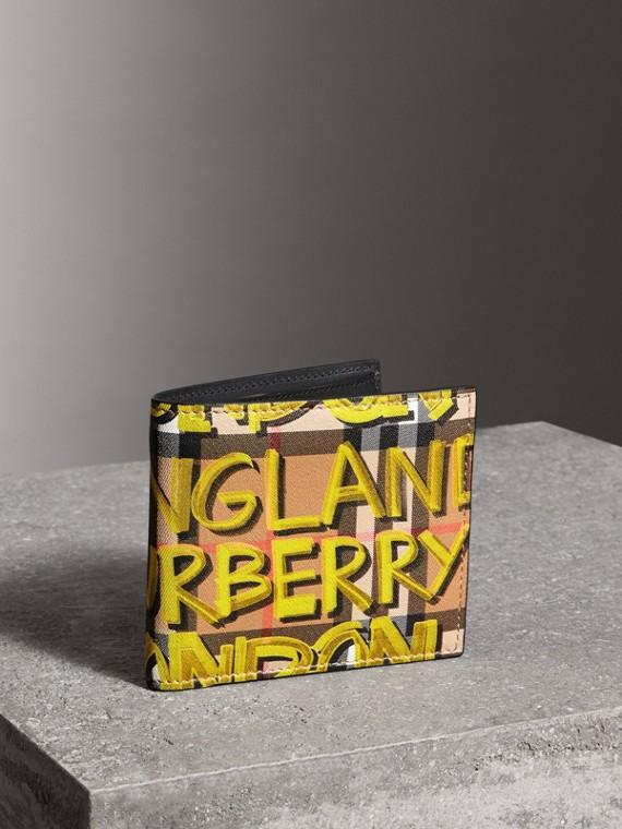 Faltbrieftasche mit Vintage Check- und Graffitimuster (Leuchtendes Gelb/antikgelb)