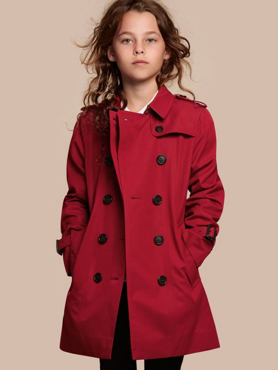 The Sandringham – Heritage Trench Coat in Parade Red - Girl | Burberry Canada