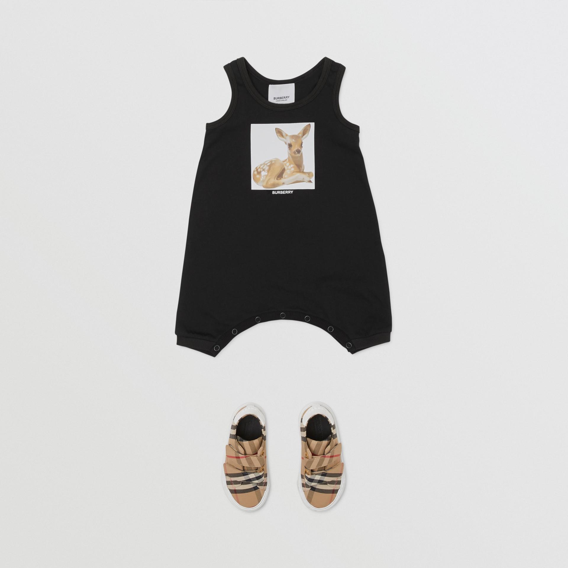Deer Print Cotton Jumpsuit in Black - Children | Burberry Hong Kong S.A.R - gallery image 2