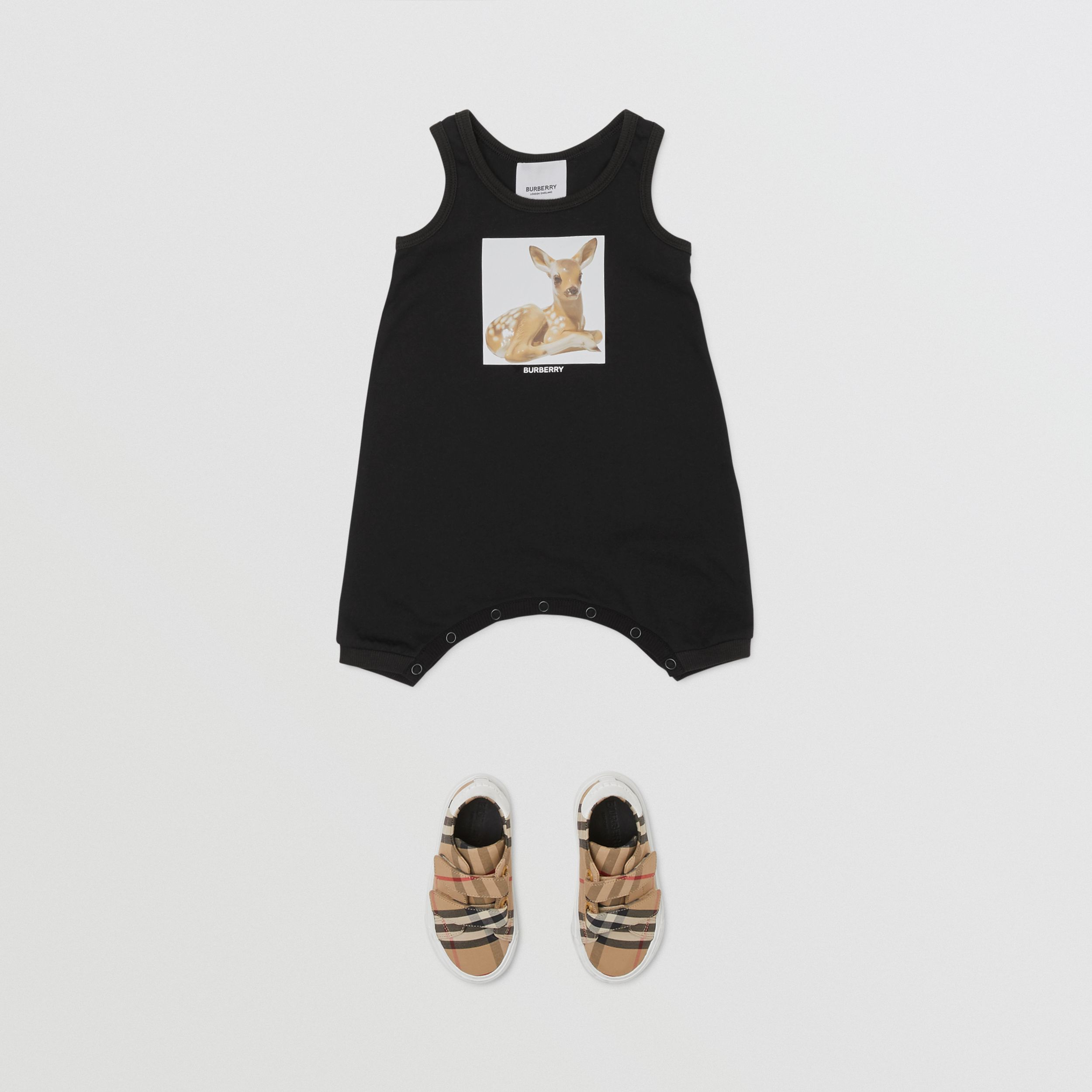 Deer Print Cotton Jumpsuit in Black - Children | Burberry - 3