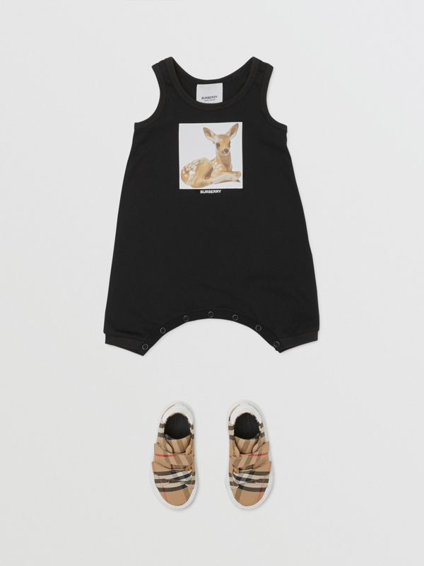 Deer Print Cotton Jumpsuit in Black - Children | Burberry Hong Kong S.A.R - cell image 2