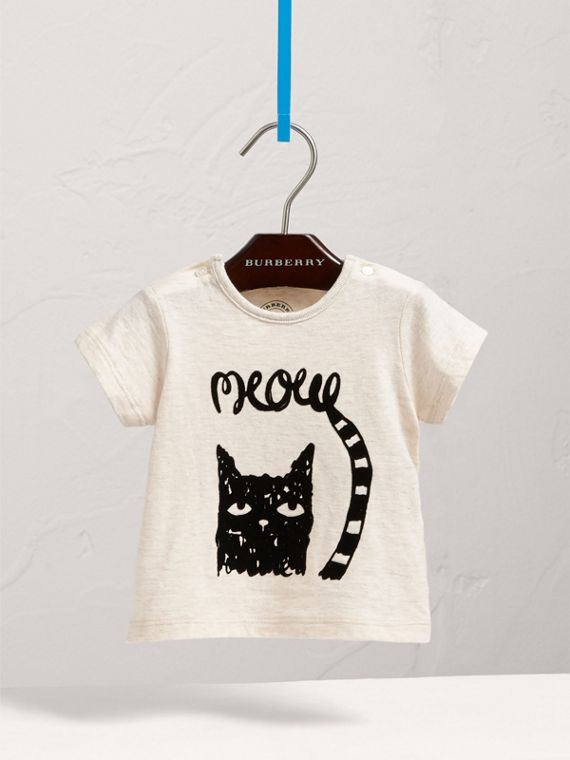 Flocked Cat Motif Cotton T-shirt in Natural Melange | Burberry - cell image 2
