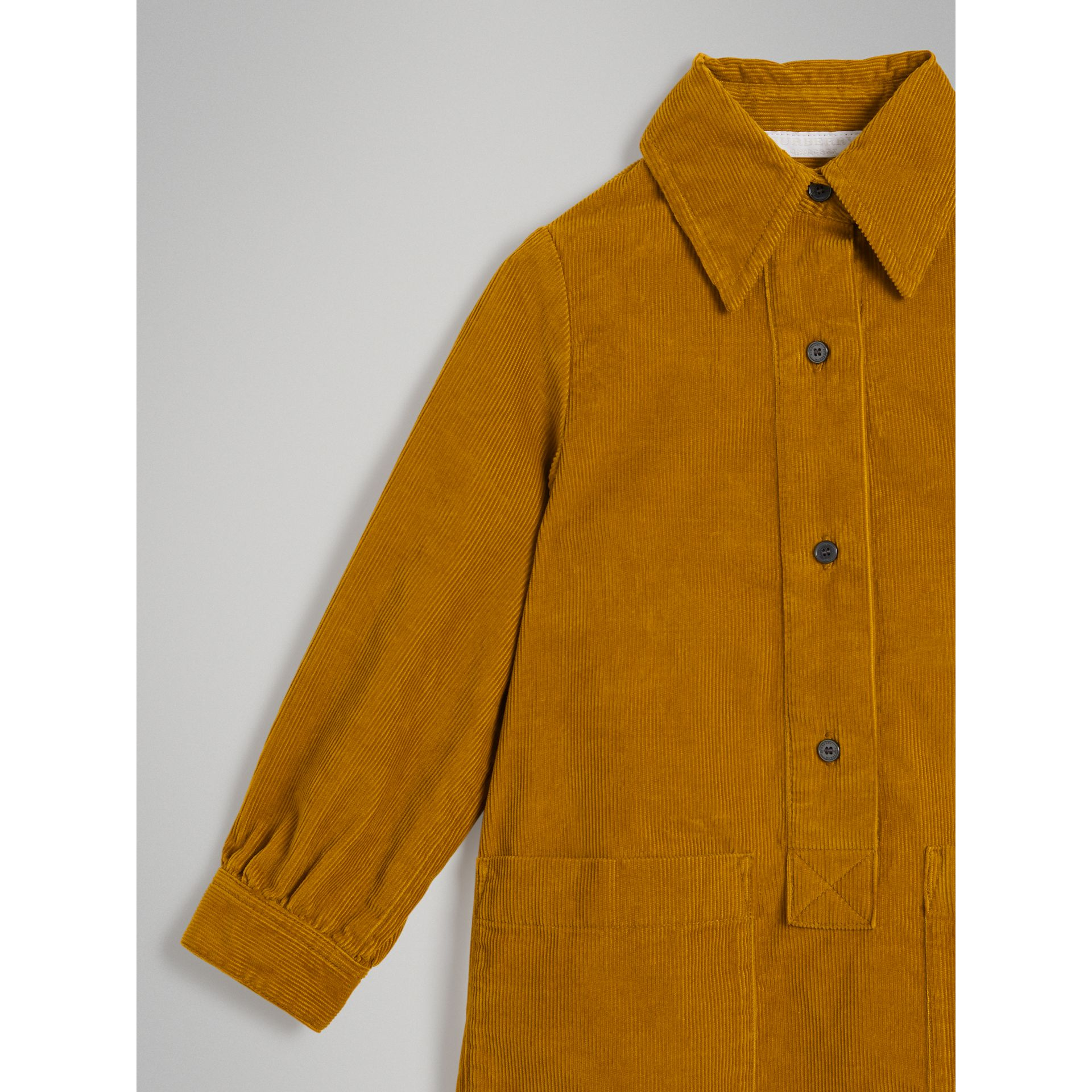 Corduroy Shirt Dress in Ochre | Burberry United States - gallery image 4