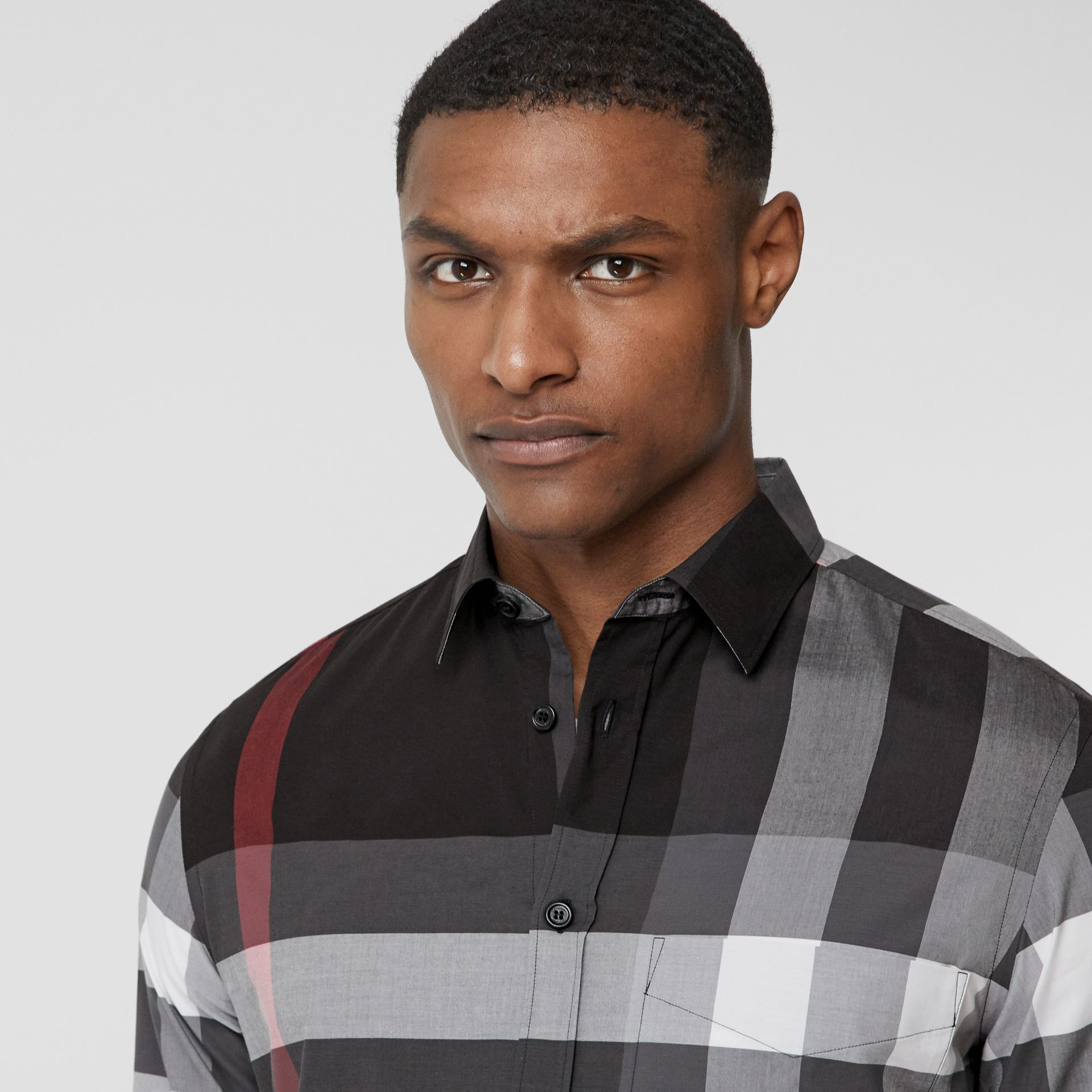 Check Stretch Cotton Poplin Shirt in Charcoal - Men | Burberry - gallery image 1
