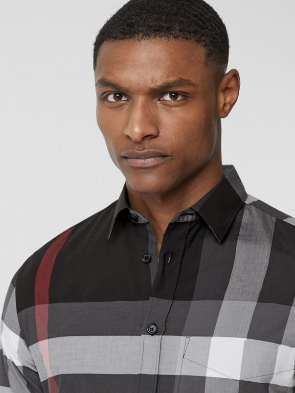 Check Stretch Cotton Poplin Shirt in Charcoal - Men | Burberry - cell image 1