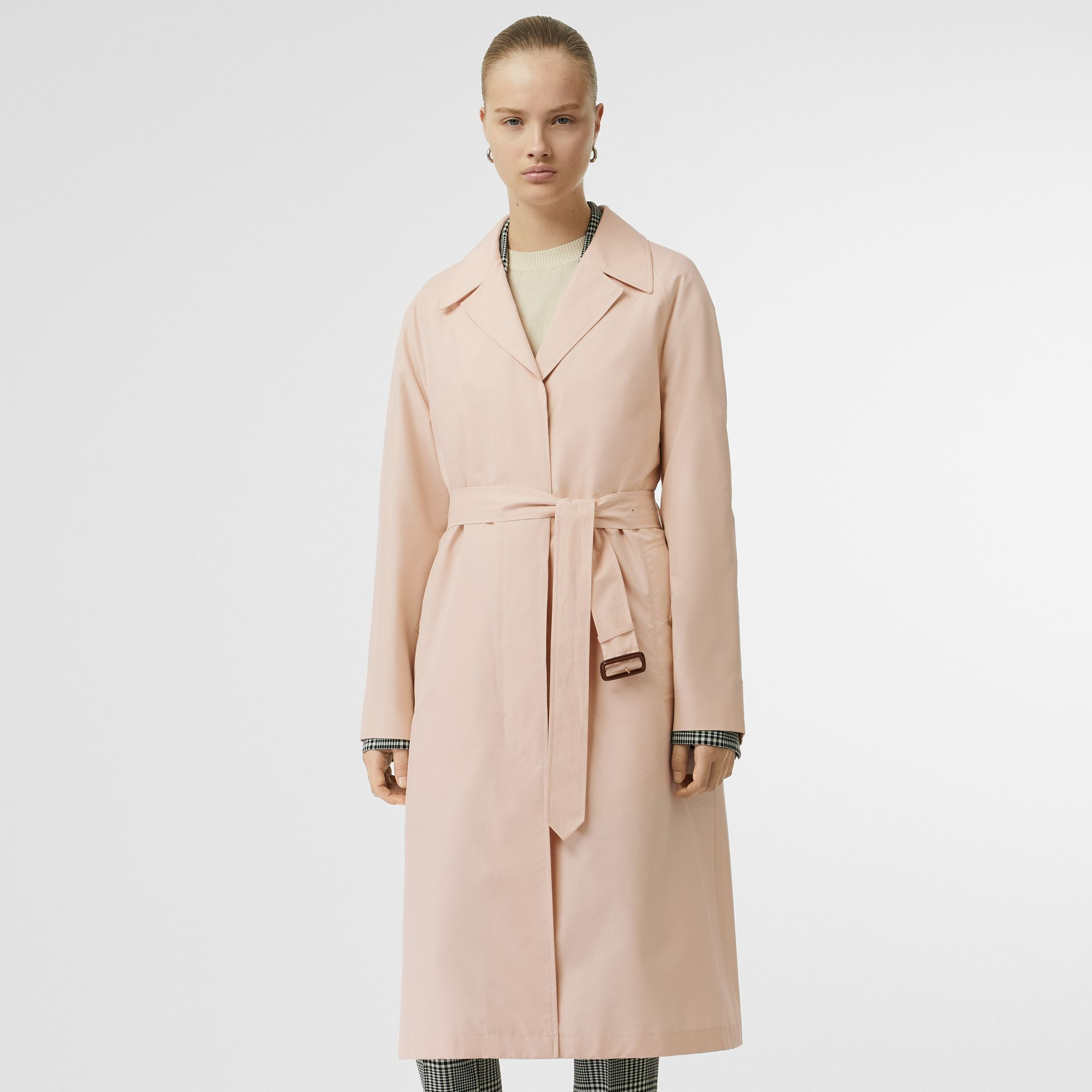 Belted Check Cotton Silk Car Coat in Chalk Pink - Women | Burberry - gallery image 6