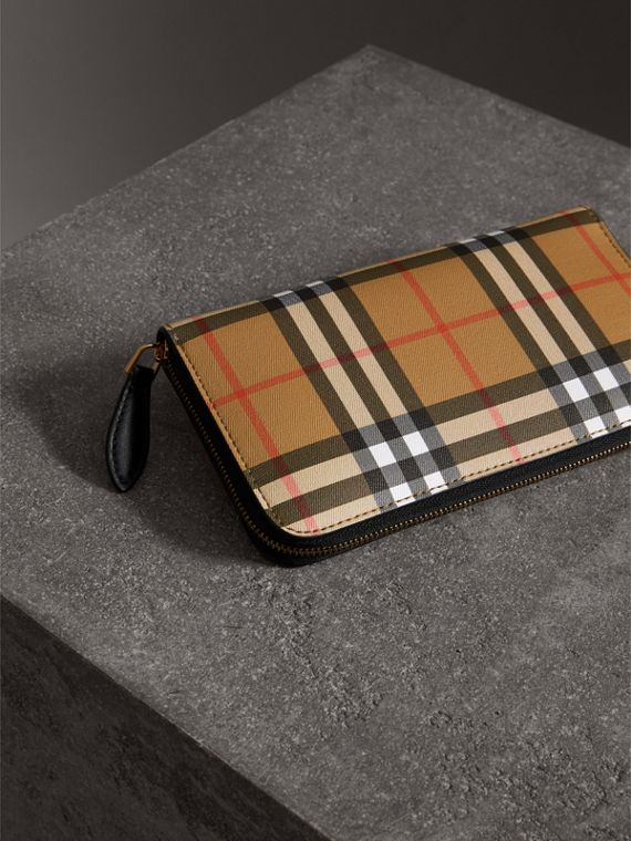 Vintage Check and Leather Ziparound Wallet in Black - Women | Burberry - cell image 2