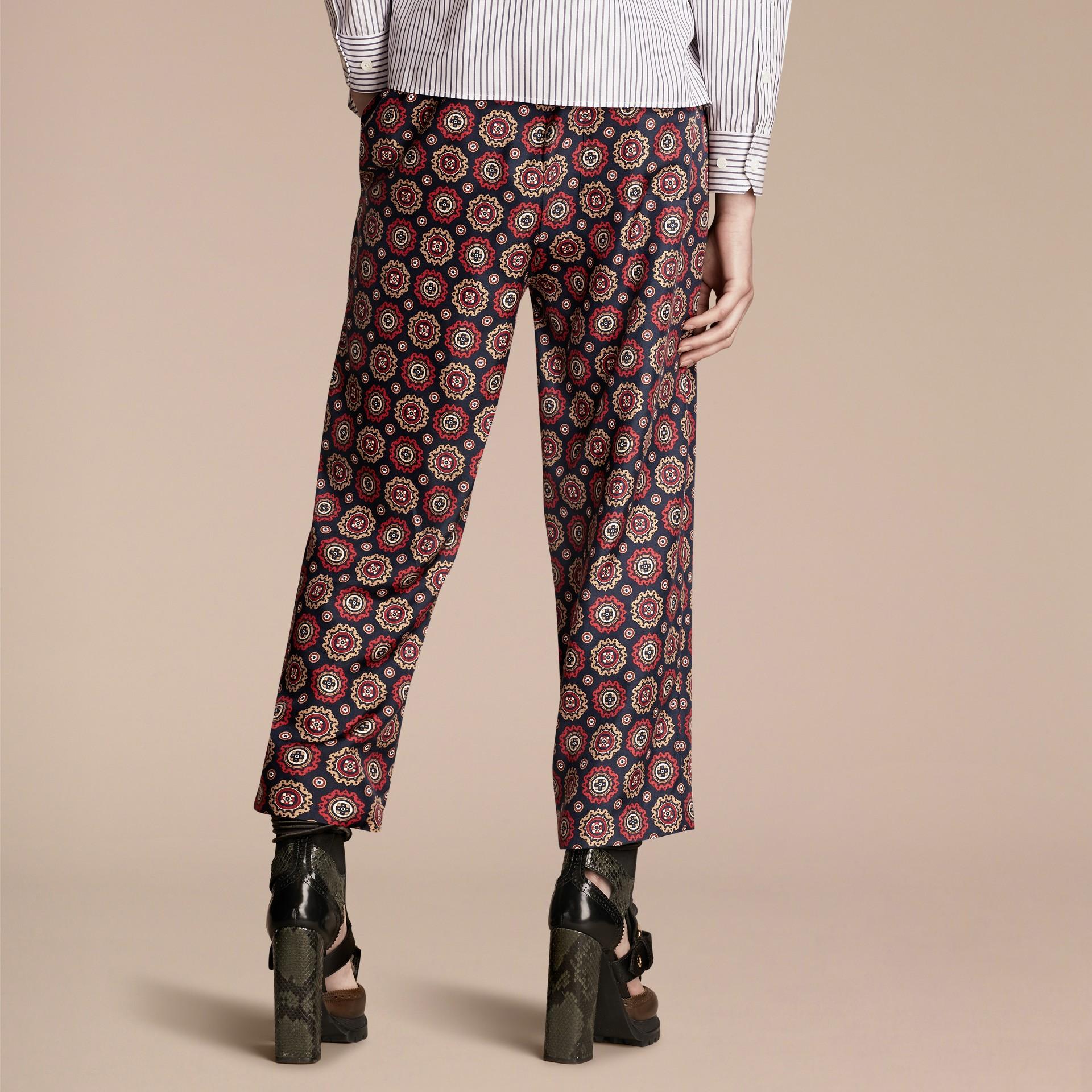 Navy Pyjama Print Cropped Silk Twill Pyjama-style Trousers - gallery image 3