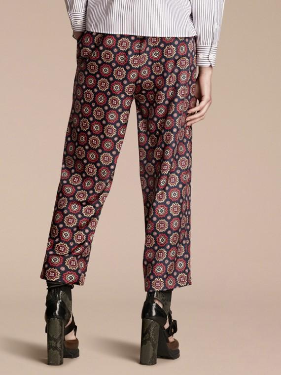 Azul marinho Calças estilo pijama curtas de sarja de seda estampadas - cell image 2