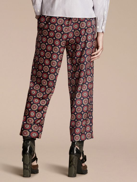 Navy Pyjama Print Cropped Silk Twill Pyjama-style Trousers - cell image 2